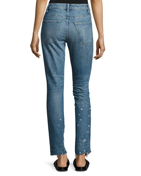 Distressed Faded Straight-Leg Jeans, Light Blue