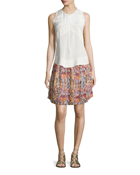 Orchid Printed Smocked Voile Skirt