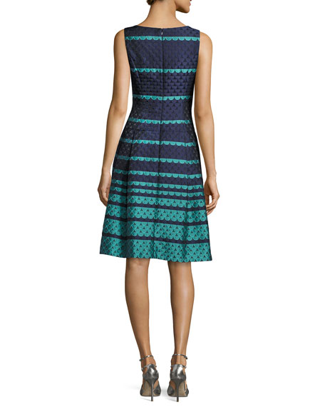 Sleeveless Scalloped Jacquard Fit & Flare Dress