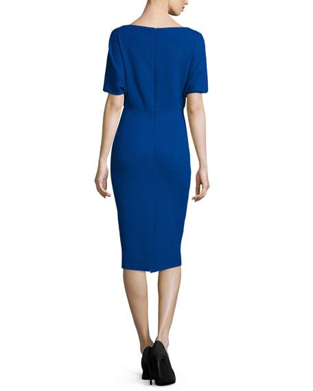 Cape-Sleeve Sheath Midi Dress
