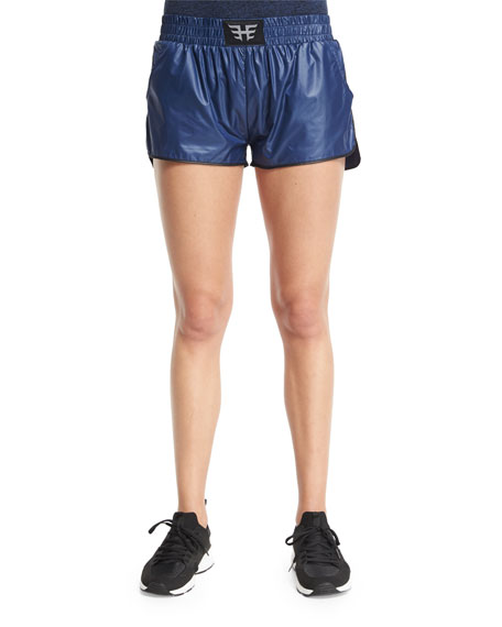 Heroine Sport Logo-Front Lightweight Training Shorts, Navy/Black