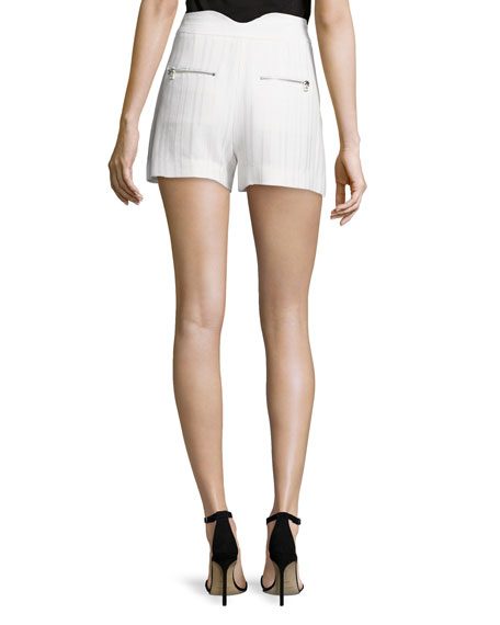Tropicana High-Waist Tailored Shorts, White