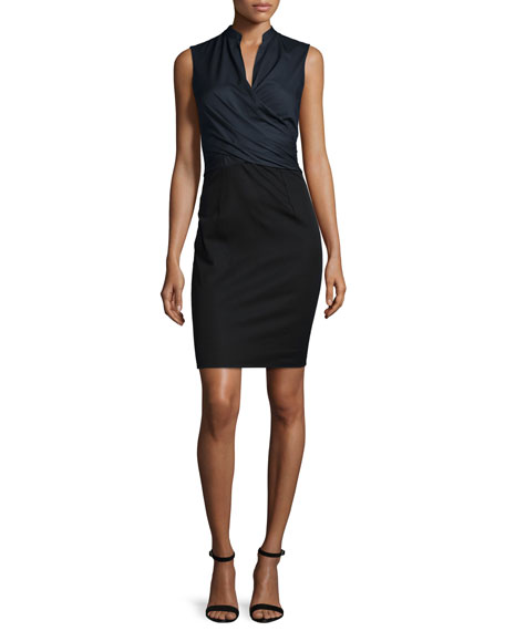 Elie Tahari Laken Sleeveless Crossover Dress