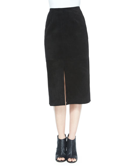 AG The Ortiz Suede Skirt, Super Black