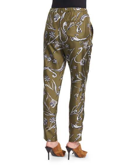 Floral Silk Tapered Trousers, Dark Olive