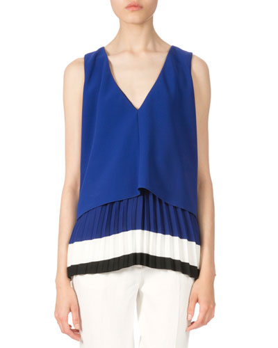 Colorblock Pleated-Hem Blouse