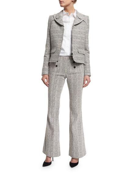 Tweed High-Rise Flare Fantasy Pants, Marine/Ecru