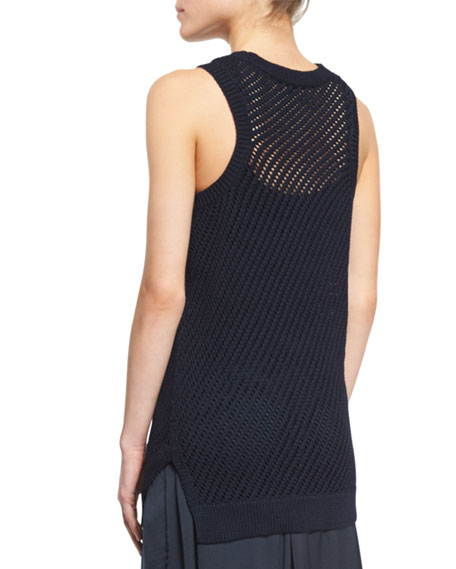 Mesh-Stitch Cotton Tank