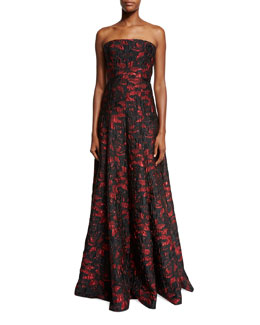 Strapless Floral Brocade Ball Gown, Black/Red
