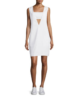 Bandeau Crepe Shift Dress, Off White