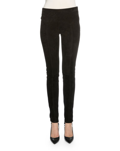 Mid-Rise Flat-Yoke Suede Leggings, Black