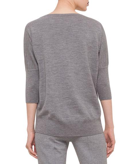 Dolman-Sleeve Slub-Knit Sweater