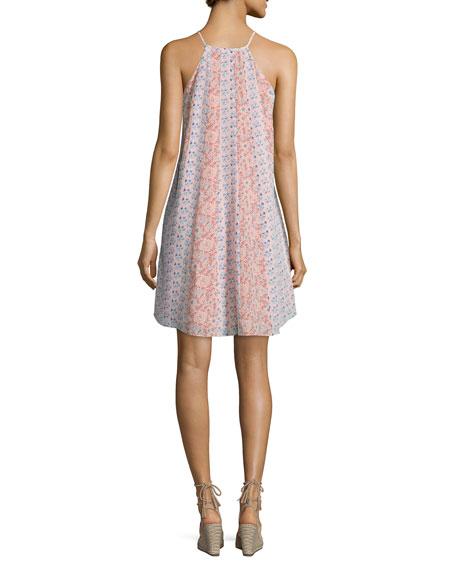 Amanda Floral Silk Shift Dress, Peach Tint