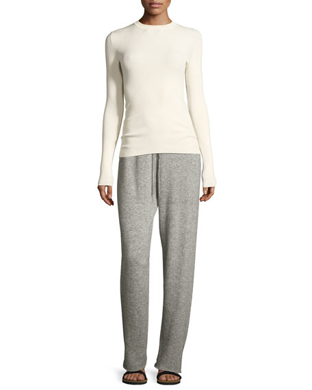 Superfine Cashmere/Silk Drawstring Sweatpants, Light Gray