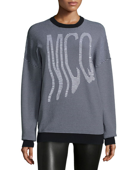 Graphic McQ Striped Jumper, White/Black