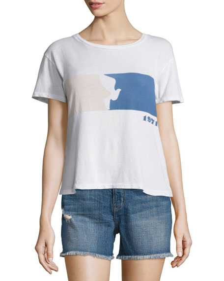 Current/Elliott The Freshman Short-Sleeve Tee, Sugar Flying Dove