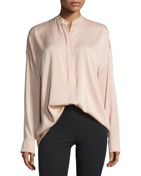 Tie-Back Stretch Silk Top, Blush