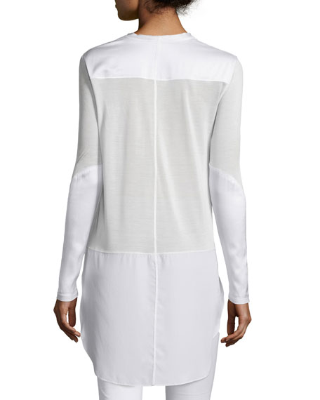 Riley Long-Sleeve Silk-Blend Top, Bright White