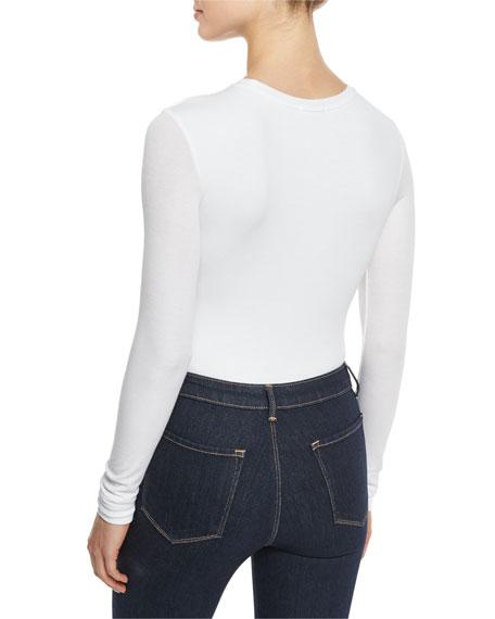 Long-Sleeve Crewneck Bodysuit, White