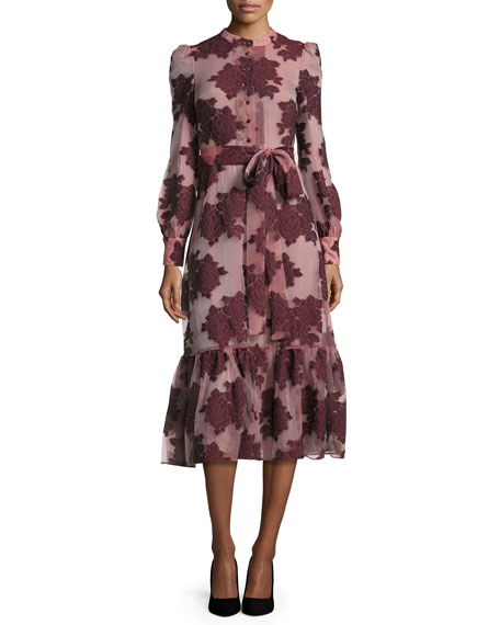 Floral Belted Long-Sleeve Midi Dress, Burgundy
