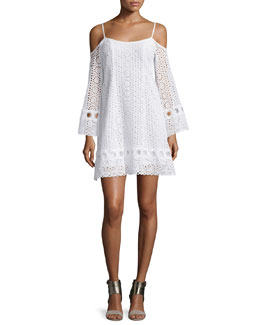 Cold-Shoulder Eyelet A-line Dress, White