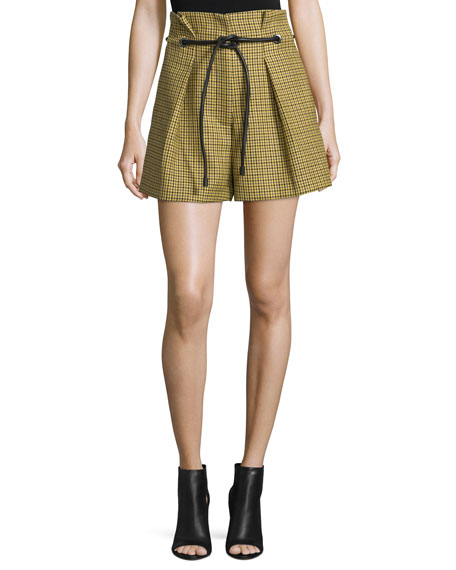 3.1 Phillip Lim Belted Houndstooth Wool Shorts, Yellow/Multicolor
