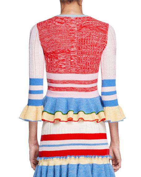 Ribbed Knit Ruffle-Trim Sweater, Multi