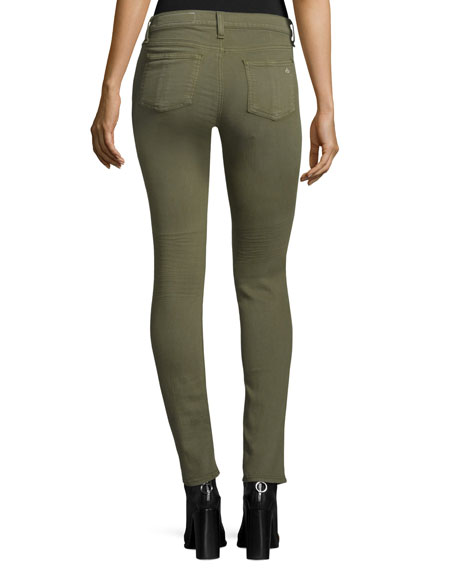Low-Rise Distressed Skinny Jeans, Army