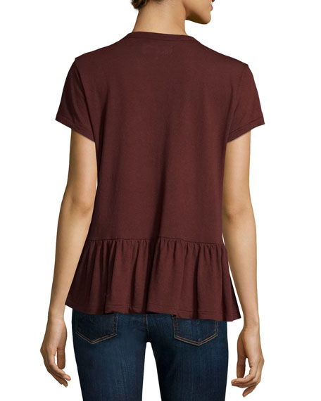 The Ruffle Tee, Dark Wine