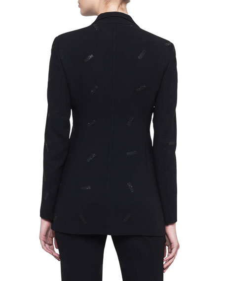 Wool-Bland Snap-Front Blazer