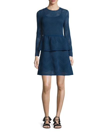 Solid Zigzag Long-Sleeve Peplum Dress