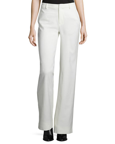 Wide-Leg Wool-Blend Trousers