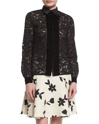 Long-Sleeve Velvet-Trim Lace Blouse, Black