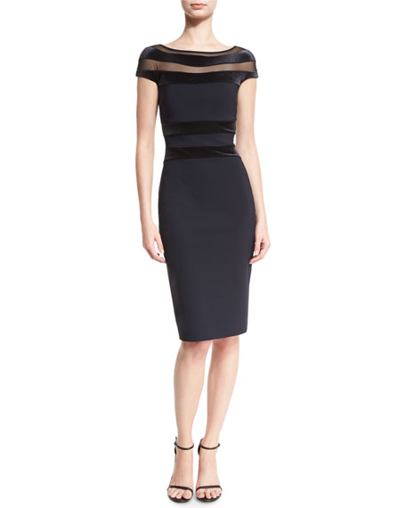 Jailin Velour-Trim Jersey Cocktail Dress, Navy/Black