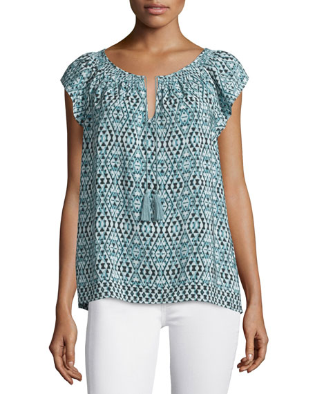 Cotati Split-Neck Printed Top