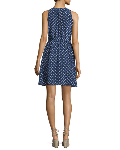 Sleeveless Silk Crisscross Dress, Indigo