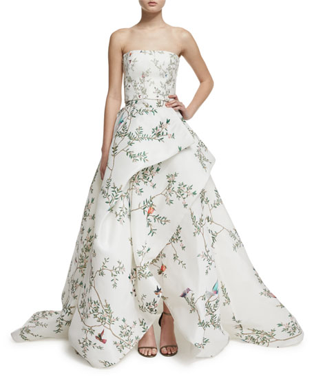Strapless Bird-Print Silk Gazar Gown, White/Multi