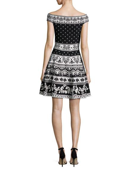 Floral-Knit Off-Shoulder Dress