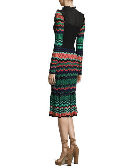 Long-Sleeve Ripple-Stitch Midi Dress, Coral