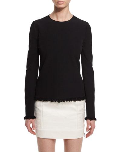 Fringe-Hem Long-Sleeve Sweater  Black
