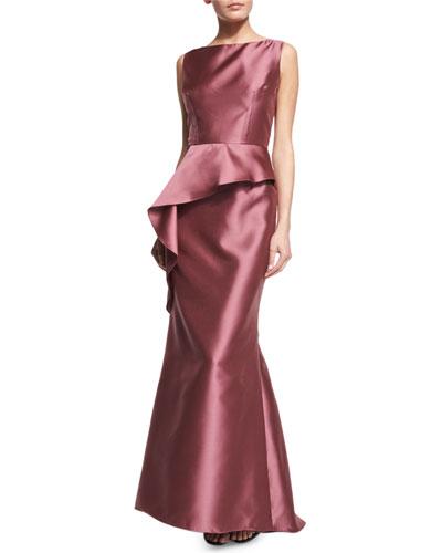Sleeveless Asymmetric-Peplum Gown