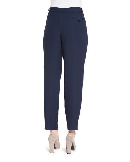 Textured Pleated-Front Trousers, Navy