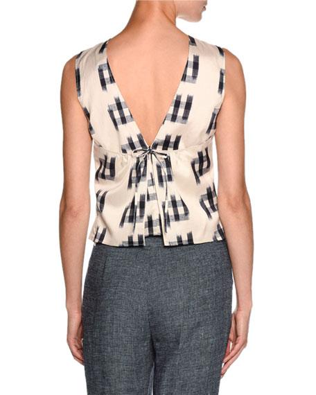 Shantung Sleeveless Tie-Back Blouse, White/Black