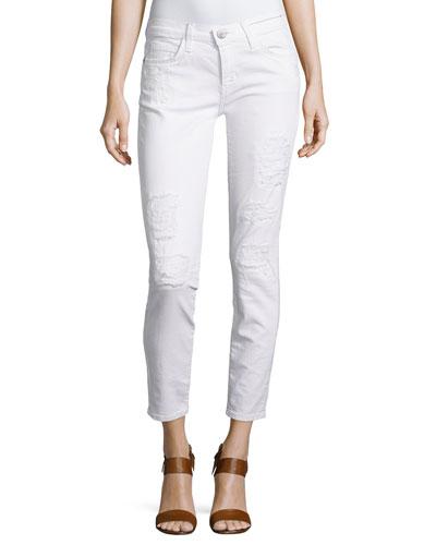 Stiletto Distressed Skinny Pants, White
