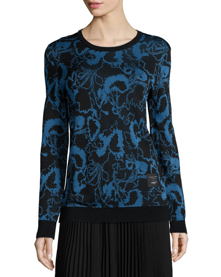Liberty Floral Pullover Sweater, Blue