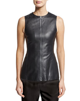 Zip-Front Leather Peplum Vest, Black