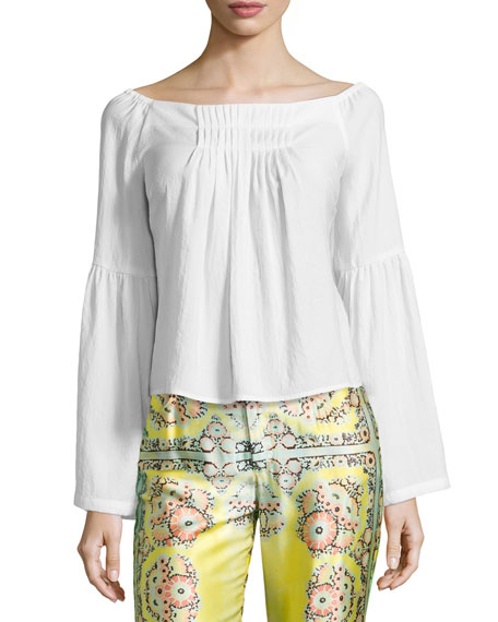 Island Party Peasant Top, White