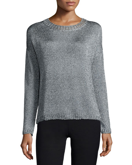 Textured Crewneck Sweater, Silver