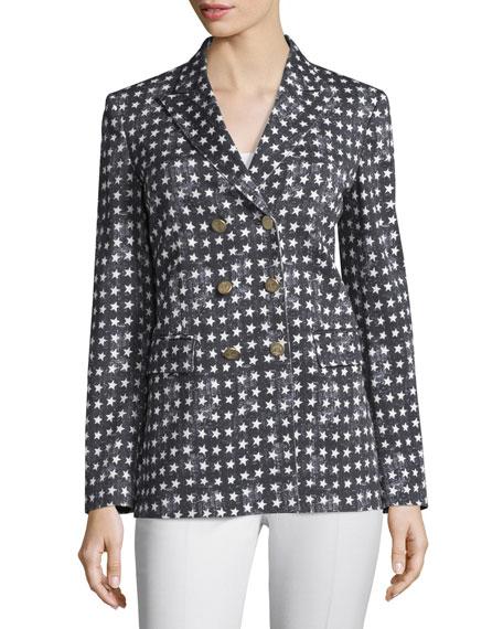 Stretch-Woven Star-Print Jacket, Black