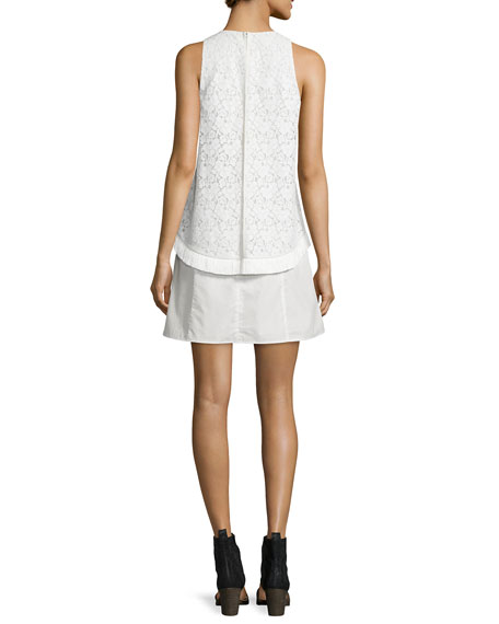 Empire Lace Flounce Dress with Fringe, White